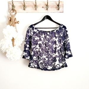 Heart Soul Blue Floral Lace Off Shoulder Top GUC